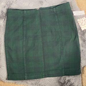 Free People Dark Green Plaid Skirt NWT